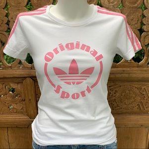 ADIDAS ORIGINAL Sport White Pink 3 Stripe Tee